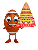 Rubgy ball character with cake Royalty Free Stock Image