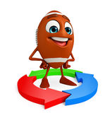 Rubgy ball character with Circular arrow Stock Photography