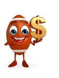 Rubgy ball character with dollar sign Royalty Free Stock Photography