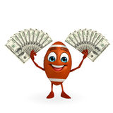 Rubgy ball character with dollars Royalty Free Stock Image