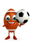 Rubgy ball character with football Royalty Free Stock Photo
