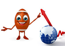 Rubgy ball character with globe and Arrow Stock Photography