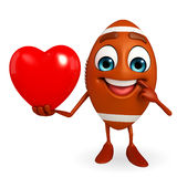 Rubgy ball character with red heart Royalty Free Stock Photo