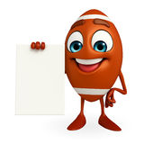 Rubgy ball character with sign board Stock Image
