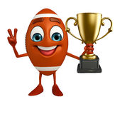 Rubgy ball character with trophy Royalty Free Stock Images