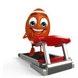 Rubgy ball character with walking machine Royalty Free Stock Photos