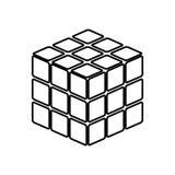 Rubic-` s Würfel-Spielform ist es schwarze Ikone Lizenzfreie Stockfotos