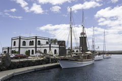 Rubicon小游艇船坞Playa布朗卡兰萨罗特岛 图库摄影