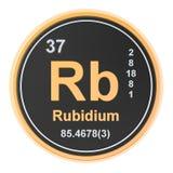 Rubidium Rb chemical element. 3D rendering. Isolated on white background stock illustration