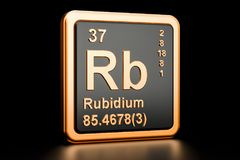 Rubidium Rb chemical element. 3D rendering. Rubidium Rb, chemical element. 3D rendering isolated on black background vector illustration