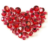 Rubies. Heart of rubies on white background vector illustration