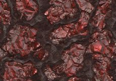 Rubies Buried in Earth and Stones Royalty Free Stock Photo
