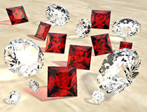 Rubies and diamonds. Scattered randomly Stock Image