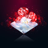 Rubies and Diamonds on glowing red background. Royalty Free Stock Images