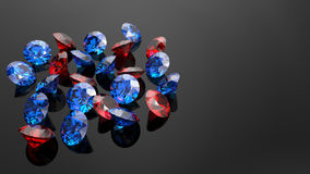 Rubies and ocean blue diamonds on a black background. stock illustration