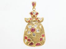 Rubies pendant with diamonds Royalty Free Stock Images