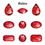 Rubies set isolated. Rubies set. Isolated objects on a white background, vector illustration vector illustration