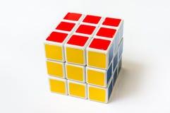Rubik在白色背景隔绝的` s立方体 库存图片