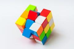 Rubik在白色背景隔绝的` s立方体 图库摄影
