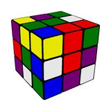Rubik cube. Solved Rubik's cube isolated on white Royalty Free Stock Photos