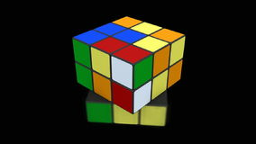 Rubik cube being solved. 3D animation with Rubik cube being solved on black background