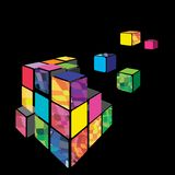 Rubik cube 3D vector with black background. Stock Photography