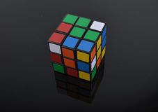 Rubik cube on the dark back ground. Stock Images