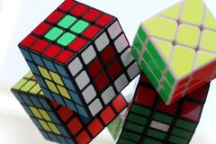 Rubik cubes, solving the cube Stock Image