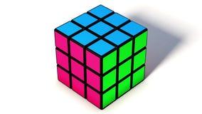 Rubik kubanimering på den vita bakgrunden arkivfilmer