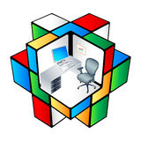 Rubik office Cubicle. The working place at colorful office cubicle matrix
