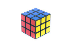 Rubik ` s立方体在白色背景被隔绝 免版税库存图片