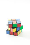 Rubik's Cube. In a classic Rubik's Cube, each of the six faces is covered by 9 stickers, among six solid colours (traditionally white, red, blue, orange, green Royalty Free Stock Photo