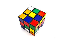 Rubik's Cube. Closeup on white background Stock Images