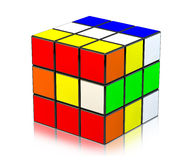 Rubik's Cube. 3 D Rubik's Cube, on white with reflection Royalty Free Stock Photography