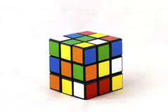 Rubik 's cube. The famous Rubik's cube over white background Stock Photography