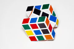 Rubik's Cube. Colorful Rubik's Cube toy with white background Stock Photo