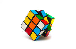 Rubik s cube. Colorful and world famous Rubik`s cube on white background Royalty Free Stock Image