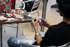 Rubik`s cube competition Stock Photography