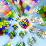 Rubik s cube. Famous Rubik s cube on blue background Royalty Free Stock Photography