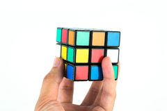 Rubik's Cube in hand Royalty Free Stock Photography