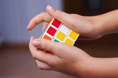 Rubik's Cube in the hands of Stock Image
