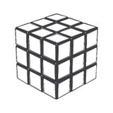 Rubik's cube isolated on a white background. Line art. Modern design Stock Images