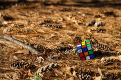 Rubik`s Cube is placed on the floor. royalty free stock photos