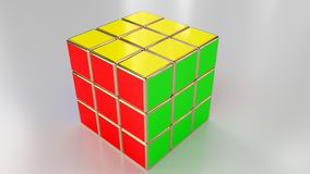 Rubik`s Cube render. Кубик Рубика рендер. royalty free illustration