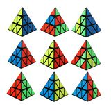 Rubik`s cube in a shape of a pyramid stock images