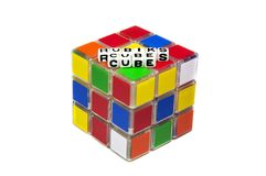 Rubik's cube text message. On top of it and white background stock image