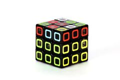 The Rubik`s cube on the white background. The The Rubik`s cube on the white background. The solution solution sequence stage four. The object is isolated on Royalty Free Stock Images