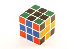 The Rubik`s cube on the white background. The way of solution.  The object is isolated on white and a clipping path is provided for easy extraction Royalty Free Stock Photo