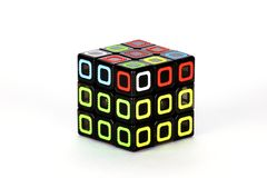 The Rubik`s cube on the white background. The solution sequence five. The object is isolated on white and a clipping path is provided for easy extraction Stock Images