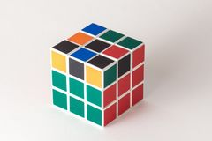 The Rubik`s cube on the white background. The solution sequence stage four. The object is isolated on white and a clipping path is provided for easy extraction Royalty Free Stock Image